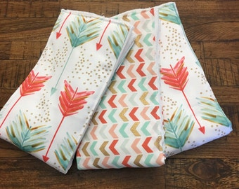 Teal and Coral Arrows ~ Burp Cloths ~ Set of 3