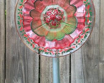 "Christmas Plate Flower, Vintage Glass, Garden Decor ""Christmas Carol"""