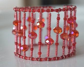 Cuff Bracelet, cuff Bracelet, red Orange Bracelet, wrist adornment, glass, handmade, any occasion, gift beads, RoseCreations