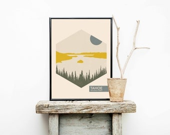National Park Poster - Lake Tahoe Print - Nursery Decor - California Travel Poster - Minimalist Poster – Home Décor – Wall Art