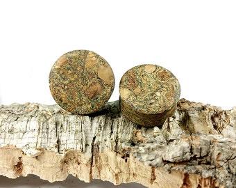 Organic Ear Plugs Green Marble Cork - DoubleFlared EarGauges - By Pair - 10mm - 12mm - 14mm - 16mm - 18mm - 20mm - 22mm - 24mm - + Big sizes