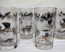 Libbey Horseless Carriage Glasses Tumblers Curio Pattern Mid Century 8 Ounce Drinking Glasses  Set of 4  Vintage 1950s