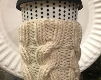 Cream Cable Knitted Coffee Cozy