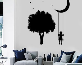 Wall Vinyl Decal Trees Swings Romantic Kids Nursery Children Decor Mural Art 1483dz
