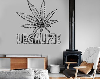 Wall Vinyl Hippie Weed Marihuana Leaf Legalize Decal Mural Art 1603dz