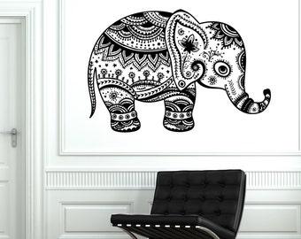 Wall Vinyl Elephant Cute Animal Tribal Ornament Mural Vinyl Decal Sticker 1767dz