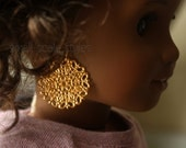 """Lace Doily Earring Dangles  American Made to fit 18"""" Girl Dolls"""