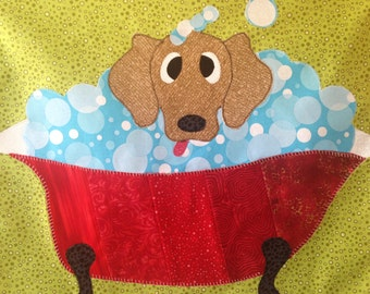 Dewie Dog Bubble Bath - Quilt Karma Pattern - Paper Strip Piecing Raw Edge Applique