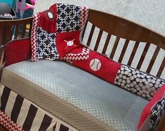boy baseball crib set #1