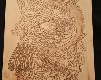 Celtic Crow & Knot work Wood Burning on Maple