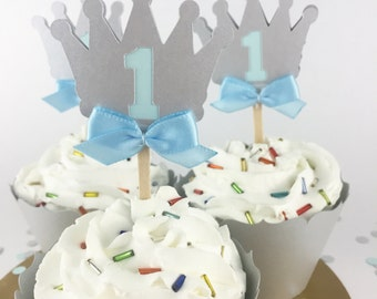 Party Decorations - First Birthday - Birthday Cupcake Toppers - Prince First Birthday - Silver and Blue Crown Cupcake Topper - Set of 12