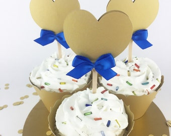 Party Decorations - Engagement Party - Heart Cupcake Toppers - Bridal Shower- Valentines Day - Gold&Blue Heart Cupcake Toppers - Set of 12