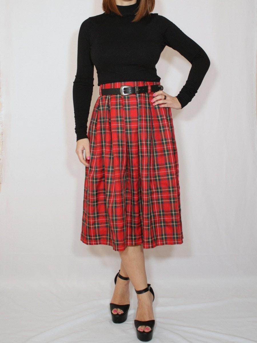 plaid skirt tartan skirt midi skirt high waist skirt