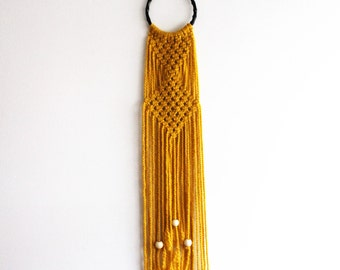 Sunflower Yellow Macrame Hoop Wall Hanging with Beads