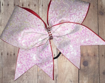 White Iridescent Sequin Cheer Bow