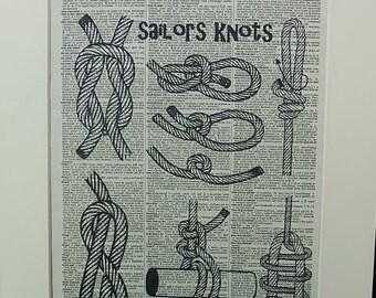 Sailors Knots Dictionary Wall Art Print No.318, nautical poster, nautical wall decor, nautical knots decor, nautical decor, sailing art