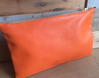 Leather clutch bag. Made in Italy. Handmade.