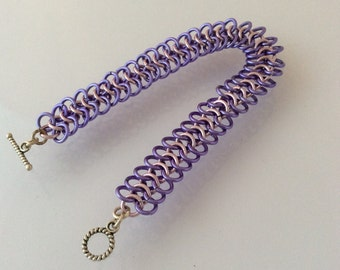 Purple and pink chain maille bracelet