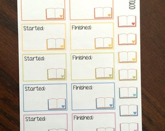 Started & Finished Book Planner Stickers - Reading Planner Stickers - Book Stickers - Reading Stickers - Half Boxes Planner Stickers