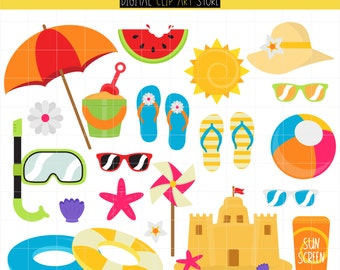 Summer Beach, Surfs Up, Sand Castle, Swimming, Fun In The Sun, Vacation, Summer Trip Digital Clip Art For Planner Stickers, Scrapbooking