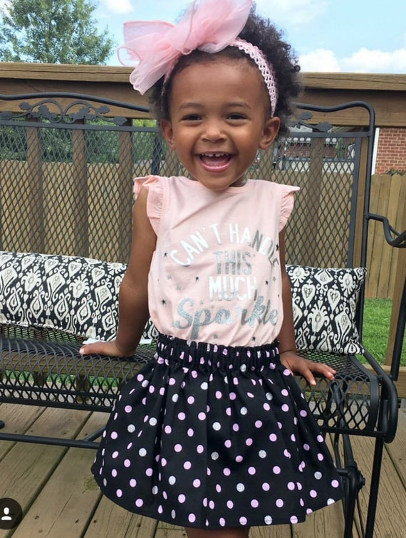 Pink and black girls skirt, baby skirt -toddler skirt, Headwrap, or Bloomers your choice