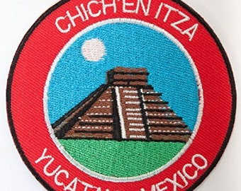 Chichen Itza Yucatan Mexico Embroidered Iron on Patch Travel Badge El Castillo Mayan Temple Applique Trek Souvenir