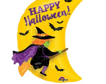 "25"" 3-D Witch balloon. Halloween balloons. Trick or treat. Halloween decor. Halloween party. Halloween balloon banner. witch. witch hat"