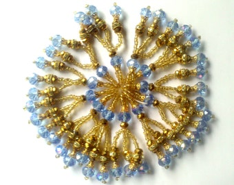 Blue and golden beaded tassels bridal dress embellishment crystal bead Rhinestone hanging bollywood saree latkans jewelry pendant earring