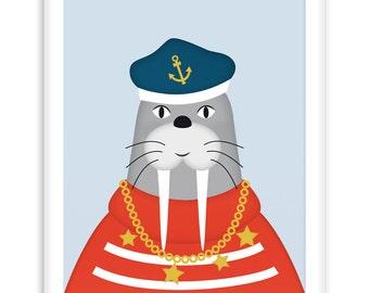 Poster Sailor Walrus | Nautical  Poster | Wall Art Children+ Nursery | fresh + clear  |   Modern Scandinavian Style