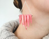 Salmon Pink Spike Coral Dangle Earrings on Sterling Silver Ear Wires, Silver Chain Geometric Earrings, Light Pink Coral Statement Earrings