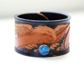 Leather Belt Upcycled Cuff