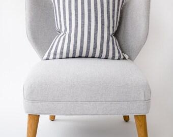 Linen Pillow Cover in Riptide Navy Stripe