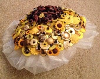 Sunflower Themed Button Alternative Keepsake Bouquet