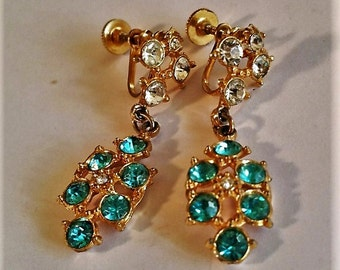 Vintage unsigned Clip-on / Screw-on Clear and Teal Rhinestone Dangle Earrings