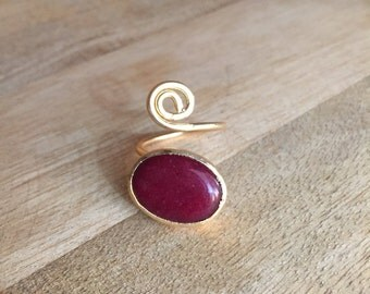 Red Agate statement ring