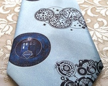 Mens Ties - Doctor Who - gift for him - father day gift - blue tie - wide tie - Gallifreyan symbols