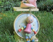 Wooden Baby Toy Mary Lou Bead Doll Girl in Pink Dress 40s Wood Teether Rattle on String Cute Shabby Chic Nursery Decor Primitive Art Gift