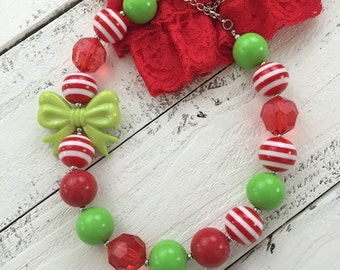 Christmas chunky beaded bubblegum bow necklace, red white lime green stipes, bubble beads newborn infant toddler baby girl Santa photo prop