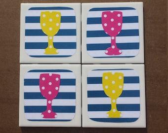 Polka Dot Wine Glass Coasters