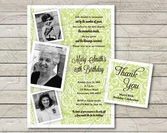 Milestone Birthday Invitation, with FREE Thank You Tags, Adult Birthday Invitation, | 5 x 7 | Printable, Digital Download File