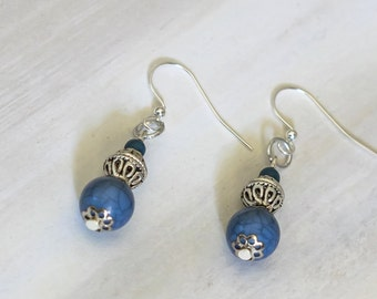 Silver and Blue Orb Earrings