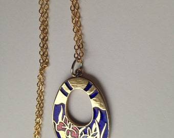 Cloisonne pendant, cloisonne pendants,  blue cloisonne pendant, cloisonné necklace, cloisonné pendants, vintage cloisonné jewelry, N70