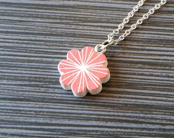 Wooden Pink Flower Necklace - Flower Charm Necklace - Personalized Necklace - Custom Gift - Initial Necklace - Wood Charm Necklace