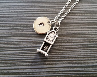 Silver Grandfather Clock Necklace - Clock Charm Pendant - Personalized Necklace - Pendulum Clock Initial Necklace - Trendy Unique Gift