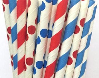Dr. Seuss inspired paper straws - Set of 25 - Red and blue straws - cake pop sticks