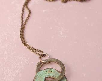 Turquoise Green Ancient Japanese Coin And Brass Ring Pendant
