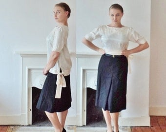 Vintage Cream Blouse Size 12 Drop Waist Tie at Hip Designer Vintage Silk Style Top