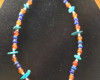 Infinity Bracelet New! Turquoise, Lapis, Red Carnelian, and Sterling Silver