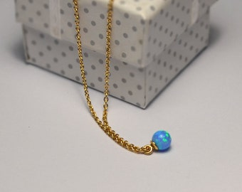 OPAL NECKLACE // Opal Charm Necklace - Blue Opal Ball Necklace - Single Bead Necklace - Tiny Opal Bead Necklace - Opal Drop Necklace