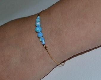 OPAL BRACELET // Dot Bracelet Opal - Opal Ball Bracelet - Opal Bar Bracelet - Blue Opal Bead Bracelet - Opal Charm Bracelet